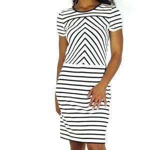 Banana Republic | Faux Leather Trim Striped Dress